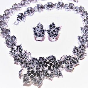 Vintage Faux Hematite Flower Necklace Earrings Set